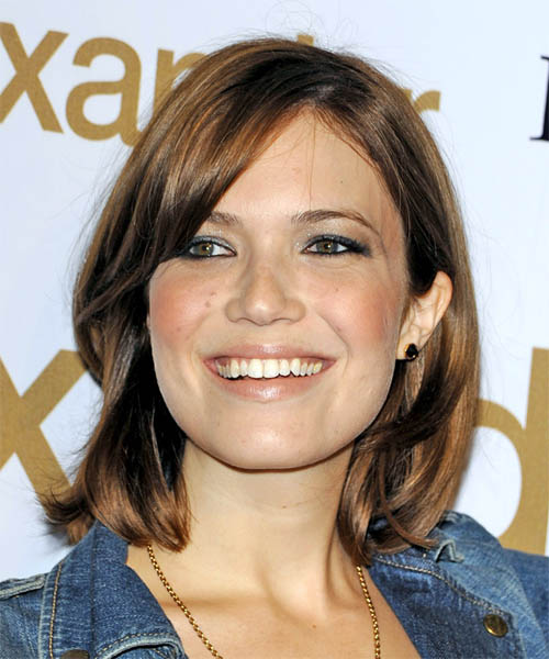 Mandy Moore Medium Straight Casual Bob Hairstyle with Side Swept Bangs - Medium Brunette (Auburn) Hair Color