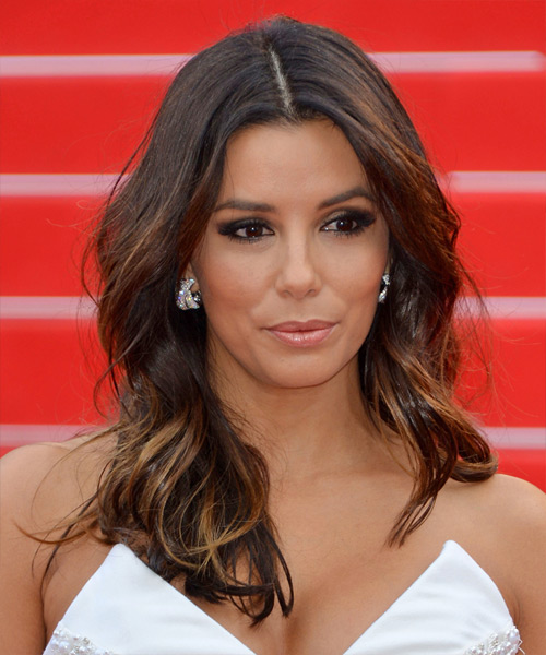 Eva Longoria Long Wavy Casual Hairstyle - Dark Brunette Hair Color