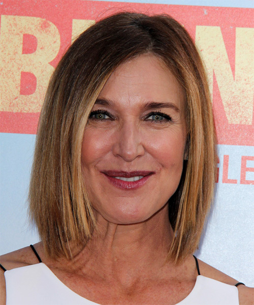 Brenda Strong Medium Straight Casual Hairstyle - Dark Blonde Hair Color