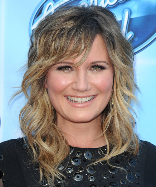 Jennifer Nettles Long Wavy Hairstyle - Medium Blonde (Ash)