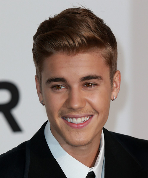 Justin Bieber Short Straight Hairstyle - Medium Brunette (Chestnut)