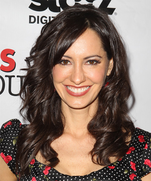 Charlene Amoia Long Wavy Casual Hairstyle with Side Swept Bangs - Dark Brunette Hair Color