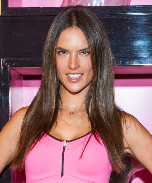 Alessandra Ambrosio Long Straight Casual Hairstyle - Medium Brunette Hair Color