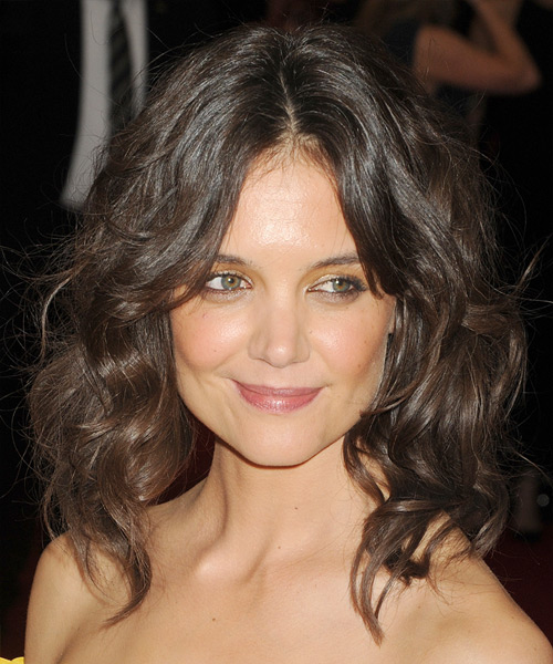 Katie Holmes Medium Wavy Casual Hairstyle - Medium Brunette Hair Color