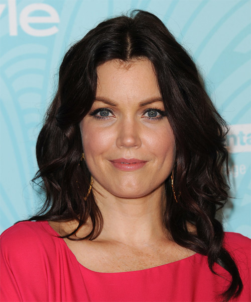 Bellamy Young Long Wavy Casual Hairstyle - Dark Brunette (Mocha) Hair Color