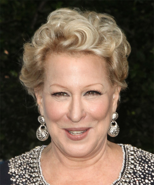 Bette Midler Short Wavy Hairstyle - Medium Blonde