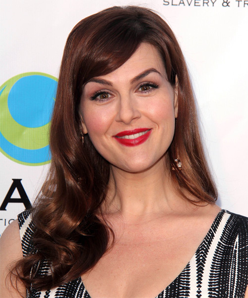 Sara Rue Long Wavy Hairstyle - Medium Brunette (Mahogany)