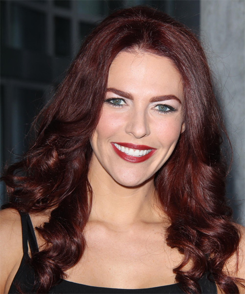 Melanie Specht Long Wavy Hairstyle - Medium Red (Burgundy)