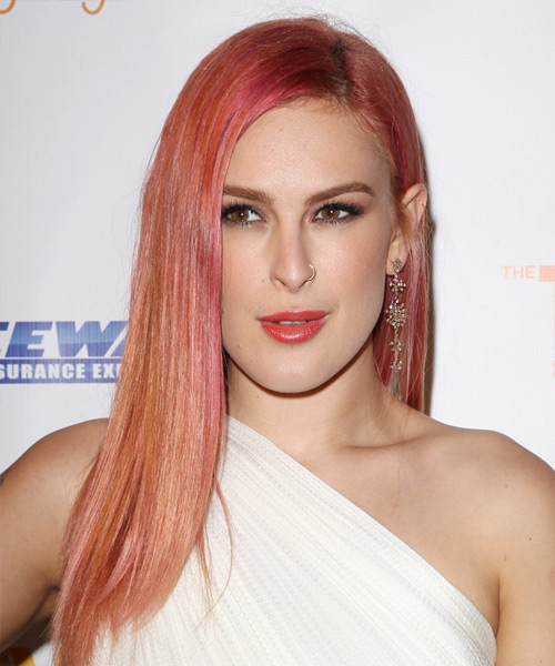 Rumer Willis Long Straight Hairstyle - Light Red