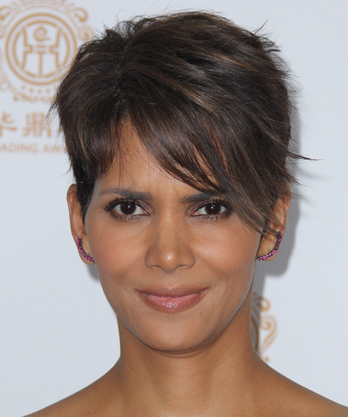 Halle Berry Short Straight Hairstyle - Dark Brunette