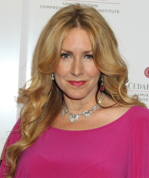 Joely Fisher Long Wavy Hairstyle - Medium Blonde