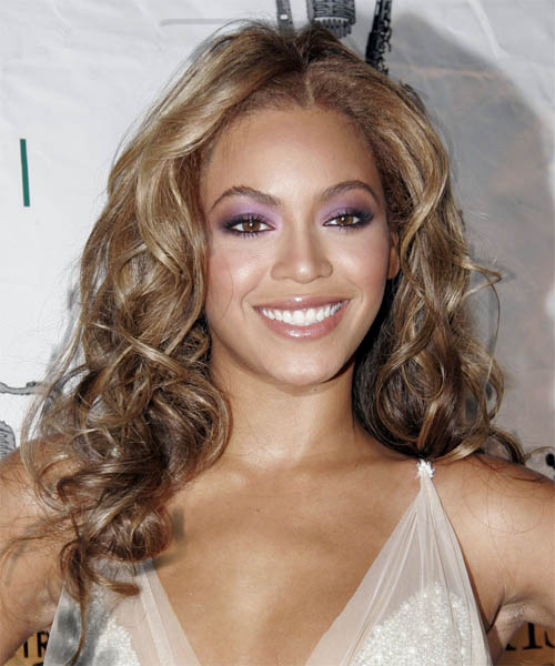 Beyonce Knowles Long Curly Hairstyle - Medium Brunette (Caramel)