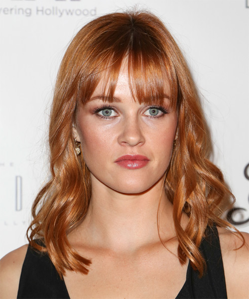 Ambyr Childers Medium Wavy Casual Hairstyle with Blunt Cut Bangs - Light Red (Copper) Hair Color