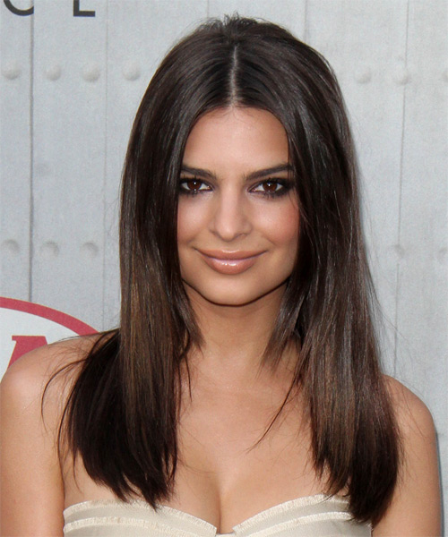 Emily Ratajkowski Long Straight Casual Hairstyle - Dark Brunette Hair Color