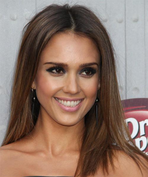 Jessica Alba Long Straight Casual Hairstyle - Medium Brunette Hair Color