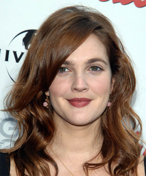 Drew Barrymore Long Wavy Casual Hairstyle - Medium Brunette (Chestnut) Hair Color