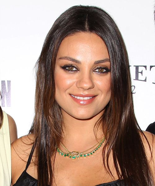 Mila Kunis Long Straight Casual Hairstyle - Medium Brunette Hair Color