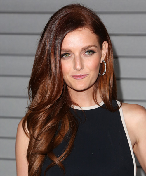 Lydia Hearst Long Wavy Formal Hairstyle - Medium Brunette (Mahogany) Hair Color