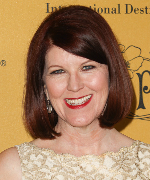 Kate Flannery Medium Straight Casual Bob Hairstyle with Side Swept Bangs - Dark Red (Mahogany) Hair Color