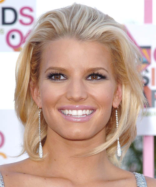 Jessica Simpson Medium Straight Formal Hairstyle - Medium Blonde (Honey) Hair Color