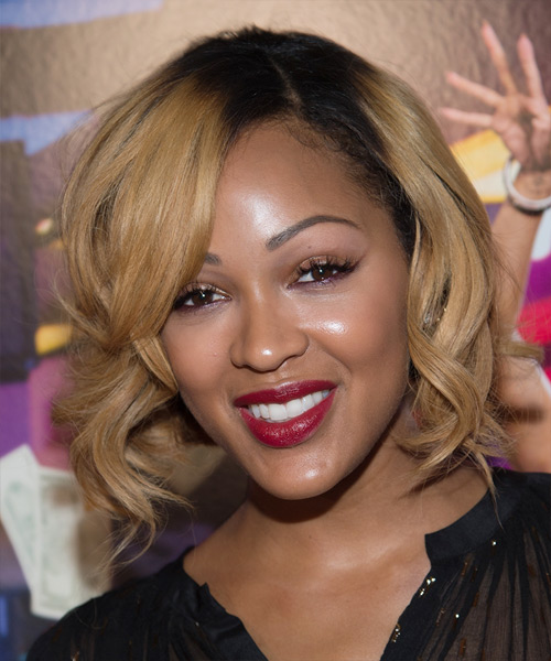 Prime Meagan Good Medium Wavy Formal Hairstyle Dark Blonde Short Hairstyles Gunalazisus