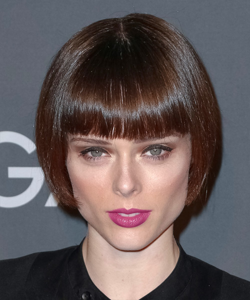 Coco Rocha Short Straight Formal Bob Hairstyle with Blunt Cut Bangs - Dark Brunette Hair Color