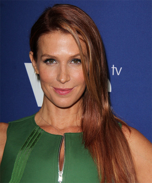 Poppy Montgomery Long Straight Hairstyle - Medium Brunette (Copper)