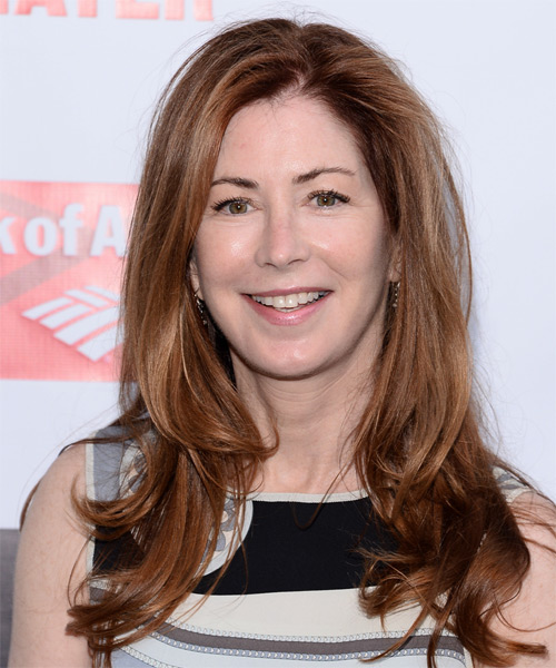 Dana Delaney Long Straight Formal Hairstyle - Medium Brunette (Auburn) Hair Color