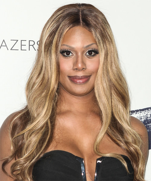 Laverne Cox Long Wavy Hairstyle - Light Brunette (Chestnut)