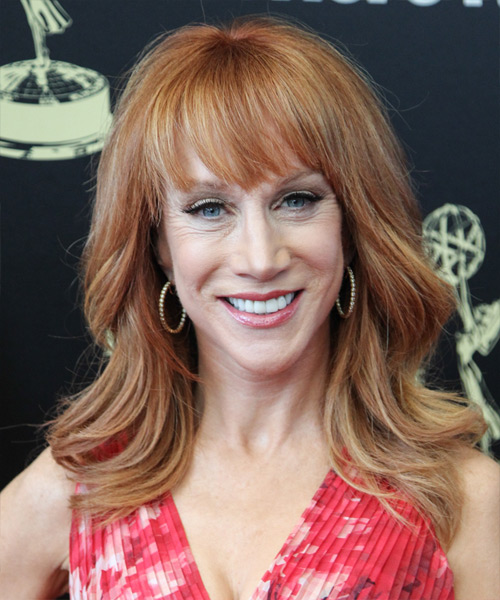 Kathy Griffin Long Straight Casual Hairstyle with Blunt Cut Bangs - Light Red (Copper) Hair Color