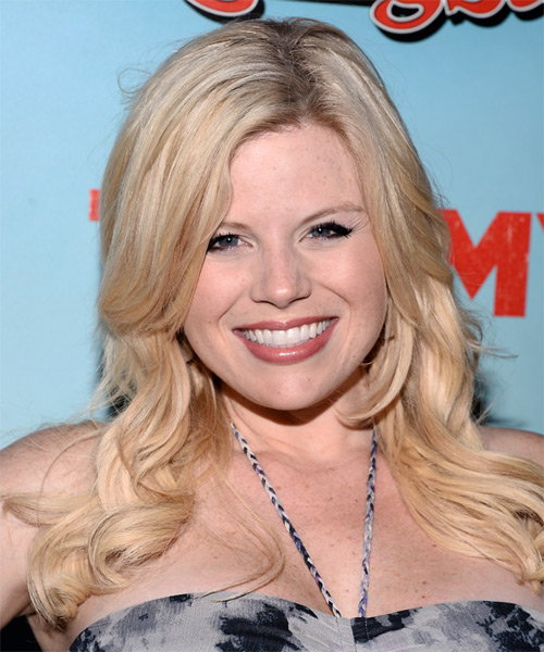 Megan Hilty Long Wavy Formal Hairstyle - Light Blonde Hair Color