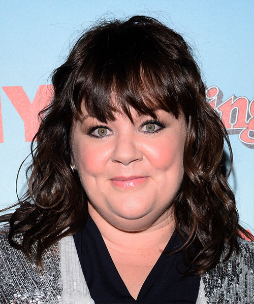 Melissa McCarthy Medium Wavy Casual Hairstyle with Layered Bangs - Dark Brunette (Mocha) Hair Color