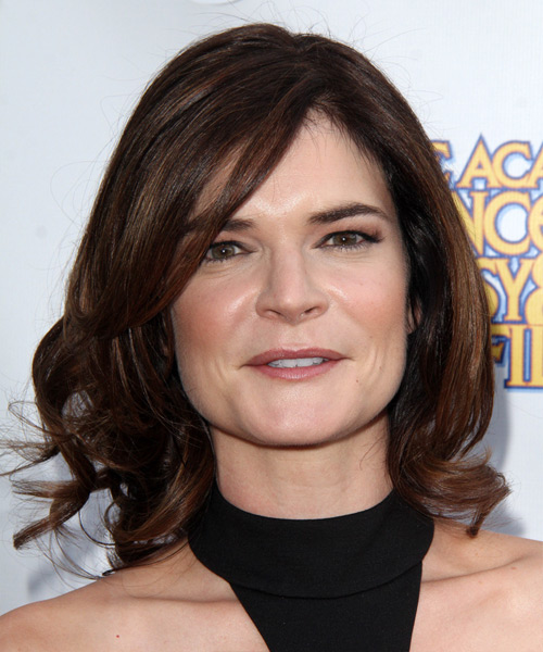 Betsy Brandt Medium Wavy Formal Hairstyle with Side Swept Bangs - Dark Brunette Hair Color