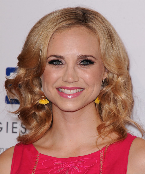Fiona Gubelmann Medium Wavy Formal Hairstyle - Dark Blonde (Copper) Hair Color