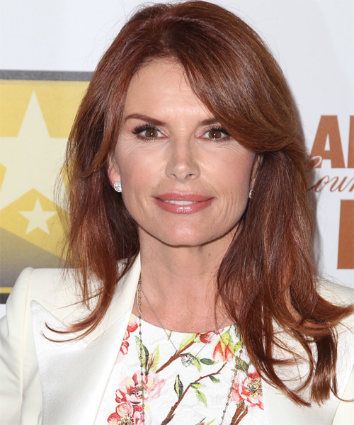 Roma Downey Long Straight Hairstyle - Medium Red (Mahogany)