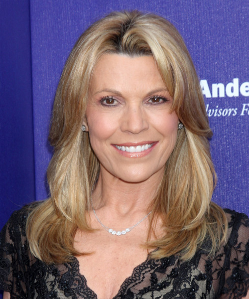 Vanna White Long Straight Hairstyle - Medium Blonde