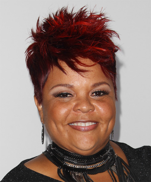 Tamela J Mann Short Straight Hairstyle - Dark Red