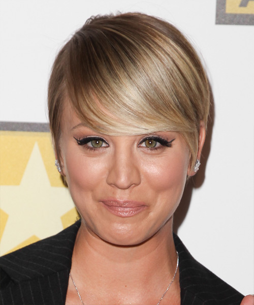 Kaley Cuoco Short Straight Formal Hairstyle - Medium Blonde Hair Color