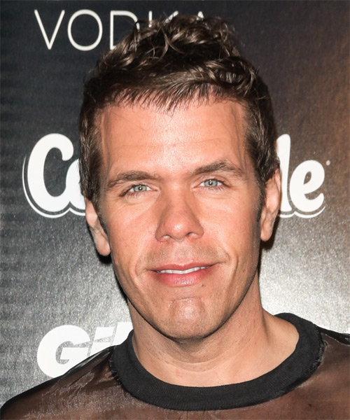 Perez Hilton Short Wavy Hairstyle - Medium Brunette (Ash)