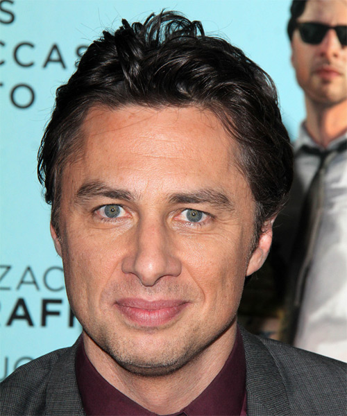 Zach Braff Short Straight Casual Hairstyle - Dark Brunette (Ash) Hair Color