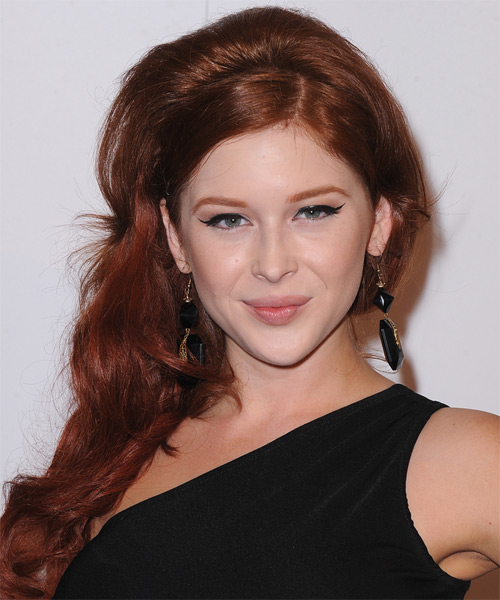 Renee Olstead Long Wavy Formal Hairstyle - Medium Red Hair Color