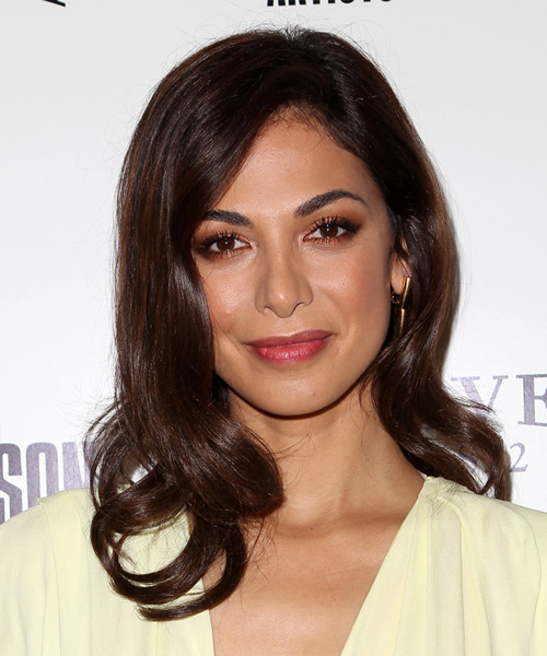 Moran Atias Long Wavy Hairstyle - Dark Brunette (Mocha)