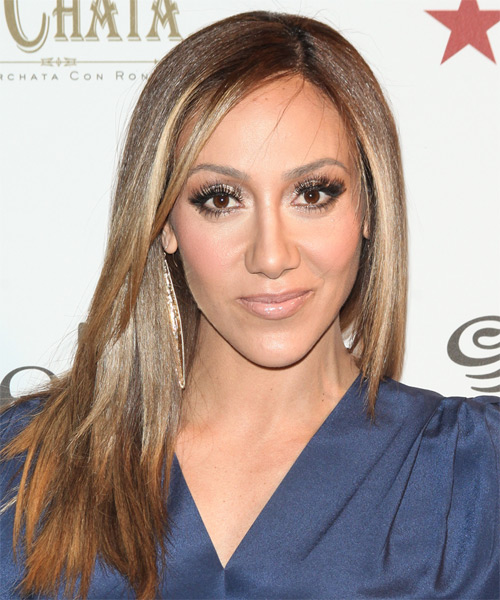 Melissa Gorga Long Straight Casual Hairstyle - Light Brunette Hair Color