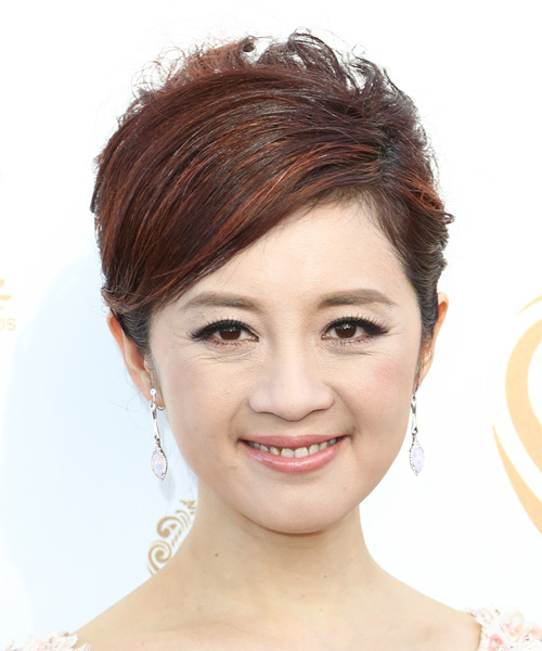 Olivia Gehui Xu Short Straight Formal Hairstyle - Dark Red Hair Color