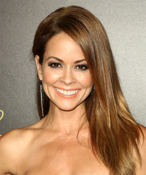 Brooke Burke Long Straight Casual Hairstyle - Medium Brunette Hair Color