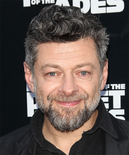 Andy Serkis Short Wavy Hairstyle - Medium Grey