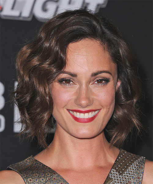 Natalie Brown Medium Wavy Formal Hairstyle - Dark Brunette (Mocha) Hair Color
