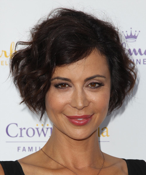 Catherine Bell Short Wavy Casual Hairstyle - Dark Brunette (Chocolate) Hair Color