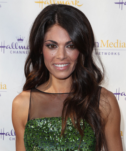 Lindsay Hartley Long Wavy Formal Hairstyle - Dark Brunette (Mocha) Hair Color