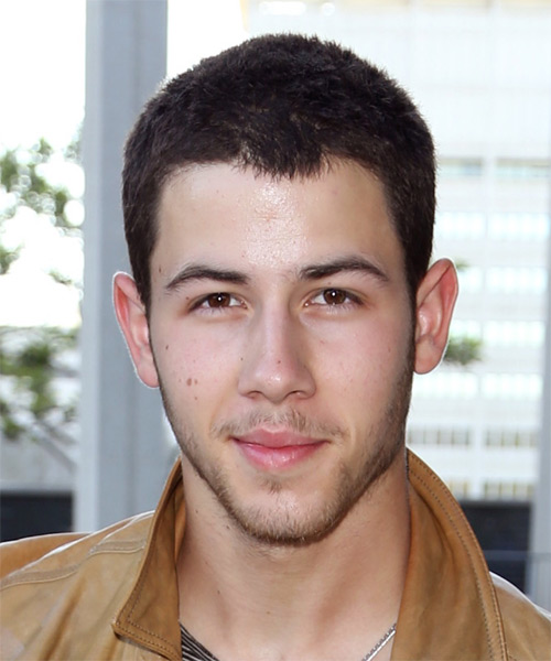 Nick Jonas Short Straight Hairstyle - Dark Brunette (Mocha)
